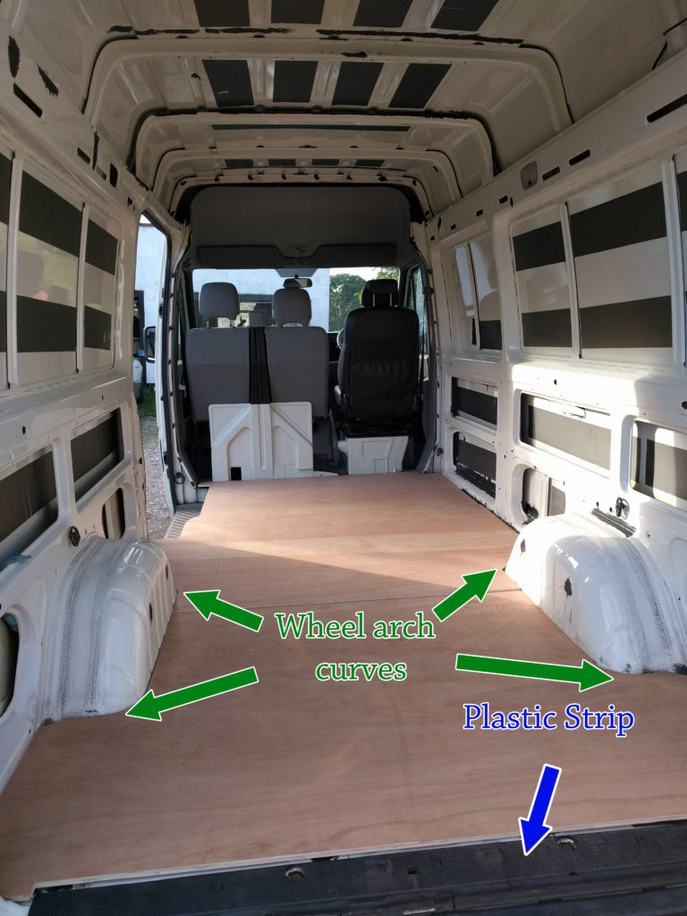 Wooden floor cut out and fitted in the van